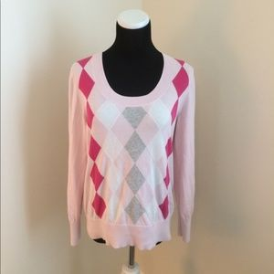 TOMMY HILFIGER Light Pink Argyle SWEATER Sz. L